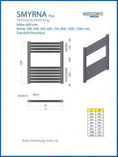 Badheizkörper SMYRNA PLUS Weiß Breite: 1000 mm. Höhe: 600 mm. Standardanschluss / mit Mittelanschlusss SONDERMAß - Vorschau 3