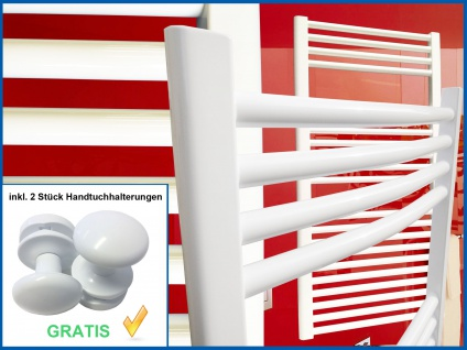 Badheizkörper SMYRNA Weiß 400 x 1760 mm. Gebogen Standardanschluss inkl. 2 Stück Handtuchhalterungen