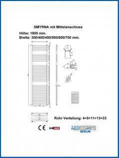 Badheizkörper SMYRNA Weiß 700 x 1800 mm. Gerade oder Gebogen - Vorschau 4