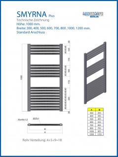 Badheizkörper SMYRNA PLUS Weiß Breite: 800 mm. Höhe: 1000 mm. Standardanschluss / mit Mittelanschlusss SONDERMAß - Vorschau 3