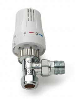Thermostatventil 1 x Thermostatkopf 1 x Ventil-Unterteil, Eckventil Weiß/Chrom