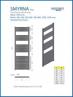 Badheizkörper SMYRNA Weiß 400 x 1500 mm. Gerade Standardanschluss inkl. 2 Stück Handtuchhalterungen - Vorschau 2