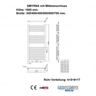 Badheizkörper SMYRNA Weiß 300 x 1000 mm. Gerade Handtuchwärmer - Vorschau 3