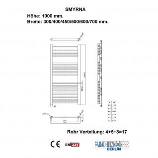 Badheizkörper SMYRNA Weiß 300 x 1000 mm. Gerade Handtuchwärmer - Vorschau 4