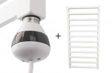 Badheizkörper GLORYA Weiß 1000 x 500 mm. + Heizelement REG 3 Weiß 400 Watt