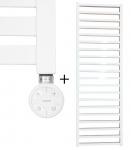 Badheizkörper GLORYA Weiß 1700 x 500 mm. + Heizelement CORE Weiß 800 Watt