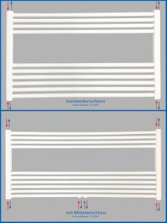 Badheizkörper SMYRNA PLUS Weiß Breite: 1000 mm. Höhe: 600 mm. Standardanschluss / mit Mittelanschlusss SONDERMAß - Vorschau 5
