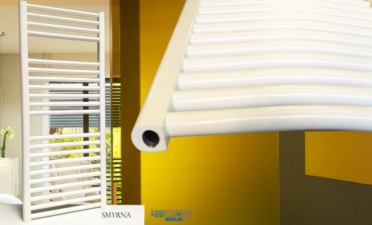 Badheizkörper SMYRNA Weiß 450 x 1200 mm. Gerade oder Gebogen - Vorschau 5