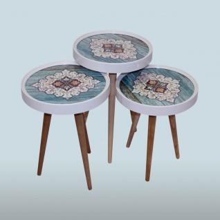 Beistelltisch Keramik Blau 3 er Set 3D mit Glas Rund