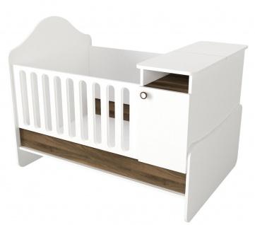Babybett Mitwachsend Lora Weiß Walnuss