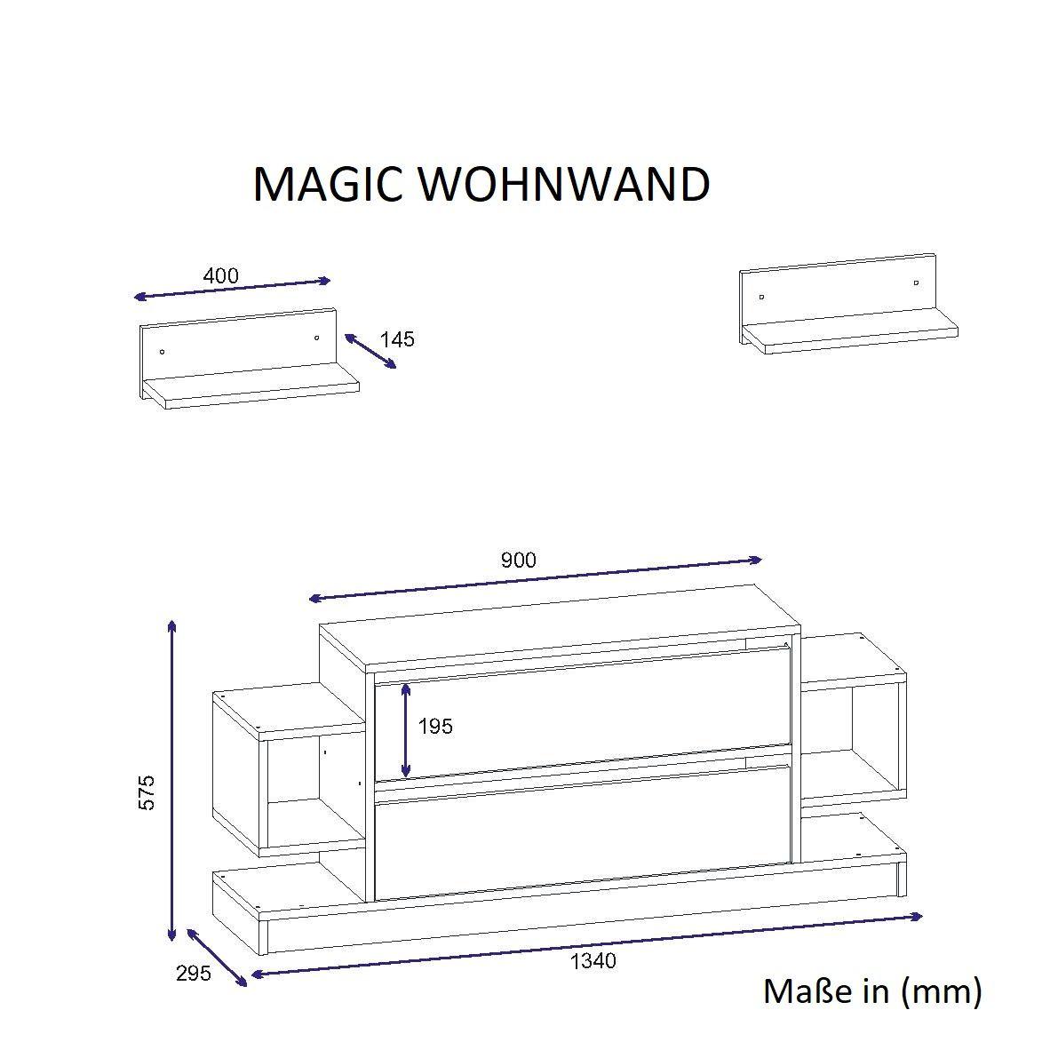 Wohnwand Magic Weiss Walnuss 5
