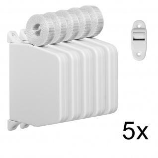 5 x Aufschraubwickler Mini Aufputz Gurtwickler Rolladen weiß, 5 m Gurtband Rolladengurt grau, Einzugautomatik bei Gurtbandwechsel inkl. Gurtdurchführung