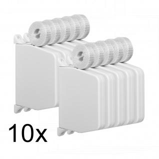 10 x Aufschraubwickler Mini Aufputz Gurtwickler Rolladen weiß, 5 m Gurtband Rolladengurt grau, Einzugautomatik bei Gurtbandwechsel