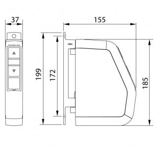 Rademacher RolloTron Schwenkwickler Standard Minigurt 1550 elektrischer Aufputz Gurtwickler Motor, weiß, ohne Display, 30 kg Zugleistung, 15mm Rolladengurt, 1550-UW