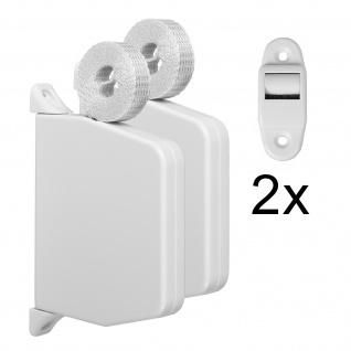 2 x Aufschraubwickler Mini Aufputz Gurtwickler Rolladen weiß, 5 m Gurtband Rolladengurt grau, Einzugautomatik bei Gurtbandwechsel inkl. Gurtdurchführung