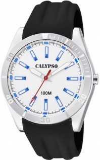 Calypso Herren analog schwarz Kunststoff Armbanduhr Uhr PU-Band Quarz K5763/1