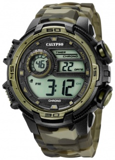 Calypso   Herrenarmbanduhr Quarzuhr Digitaluhr Kunststoffuhr mit Alarm Stoppuhr schwarz/olivgrün K5723/6