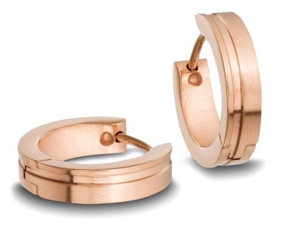 Minott Edelstahl Damen Ohrschmuck Ohrringe Creolen | roségoldfarben mit Einkerbung 31421