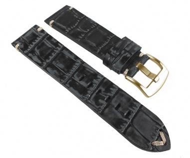 Ersatzband Antik-Optik Uhrenarmband Leder schwarz, Kroko Prägung 24967G /P