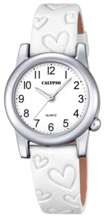Calypso Kinderarmbanduhr Quarzuhr Analoguhr Lederband mit Herzprägung K5709