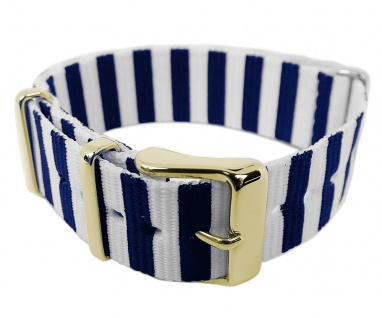 Timex Weekender Nato-Band Uhrenarmband Durchzugsband Textil Band mit Metallschlaufen 18mm blau/weiß TW2P91900