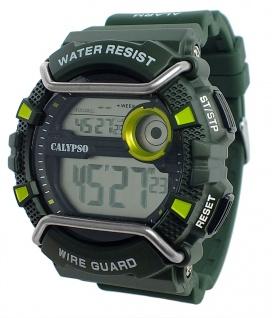 Calypso Herrenarmbanduhr Quarzuhr digital Kunststoff mit Silikonband Stoppuhr grün/gelb K5764/5