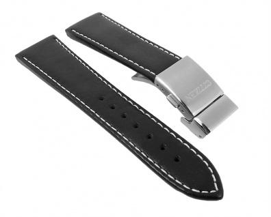 Ersatzband Leder schwarz 23mm passend zu Citizen Eco Drive Funk AT8011-04E