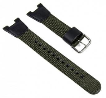 Casio Uhrenarmband Textil/Leder Band schwarz-Olive SGW-100B