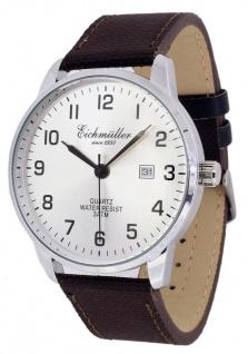 Eichmüller Armbanduhr Textil-Lederband braun Herrenuhr Analog Quarz 3ATM Datum