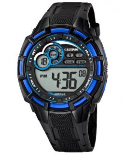 Calypso Armbanduhr Herrenuhr Digitaluhr Chrono schwarz / Blau 10 ATM K5625/2
