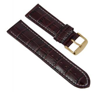Uhrenarmband Leder Band Braun mit Alligator Narbung 26597G