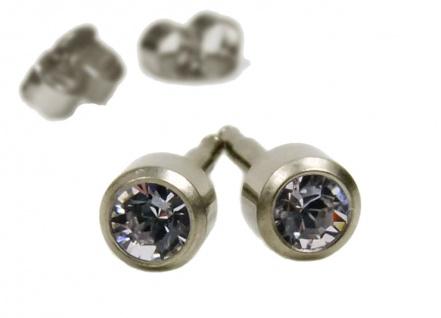 Minott Erstohrstecker Ohrschmuck Ohrringe Ø 4mm | Titan champagnerfarben | 100% Steril mit Stein