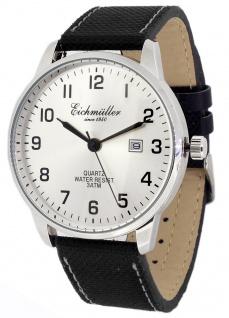 Eichmüller Armbanduhr Textil-Lederband schwarz Herrenuhr Analog Quarz 3ATM Datum
