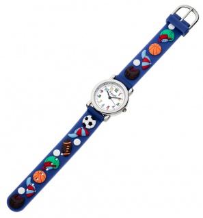 Eichmüller Kinderuhr analog Uhr blau Armbanduhr Edelstahl Silikon Ballmuster 34975