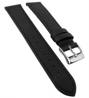 Uhrenarmband 14mm - 22mm | Leder, schwarz mit Naht, wasserabweisend 32156