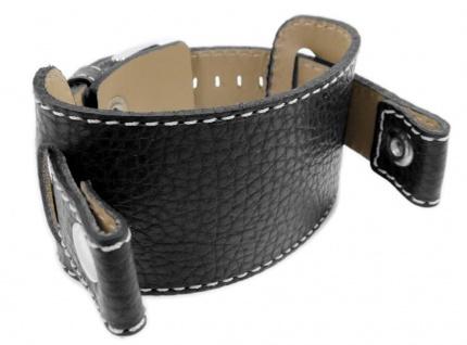 Spartakus Uhrenarmband Rindleder Band mit Unterlage schwarz 21048S