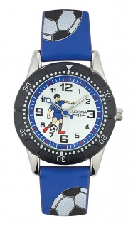 Adora Young Line   analoge Quarz Armbanduhr für Jungen   PU-Band blau - Fußballmotiv   36176