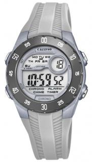 Calypso Kinderarmbanduhr Quarzuhr Digitaluhr Kunststoffuhr grau mit 2 Alarmzeiten Weltzeit Licht K5744/4
