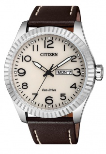 Citizen Armbanduhr | Eco-Drive Solarzelle | Lederband, braun | Datumsanzeige > BM8530-11X
