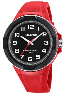 Calypso Herrenuhr K5781analog rot Kunststoff Armbanduhr Uhr Quarzuhr