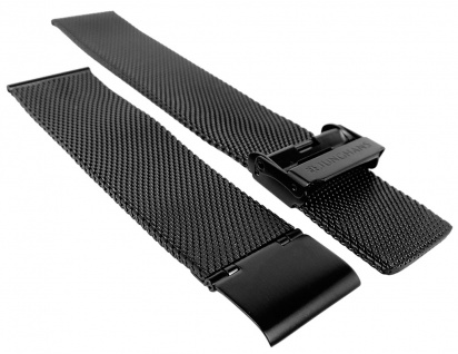 Junghans Mega Solar Funk Ersatzband 20mm Edelstahl Milanaise schwarz 018/1113 018/1721 018/1812
