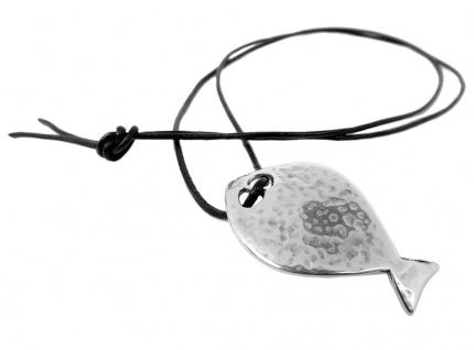 Minott Halskette schwarzes Lederband zum verknoten + Fisch Anhänger MT-24664