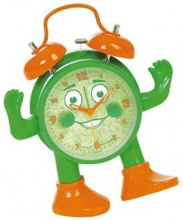 Kinderwecker mit Sekundenanzeiger in orange und grün > bewegliche Arme und Beine