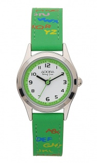 Adora Young Line   analoge Quarz Armbanduhr aus Edelstahl mit grünem Kunststoffband   36117