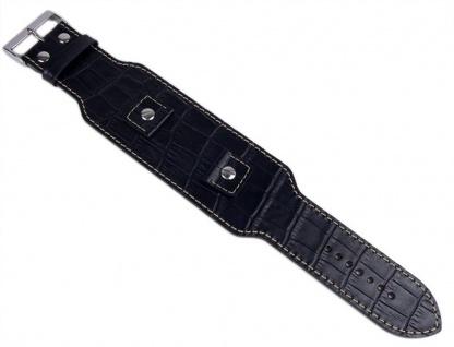 Minott Uhrenarmband Leder schwarz Kroko-Optik Wechselanstoß 18mm 20mm 22mm 24mm