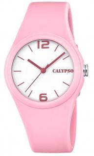 Calypso Damenarmbanduhr gut lesbar Quarzuhr Analoguhr Kunststoffuhr rosa mit weichem Silikonband K5742/3