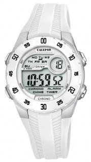 Calypso Kinderarmbanduhr Quarzuhr Digitaluhr Kunststoffuhr weiß mit 2 Alarmzeiten Weltzeit Licht K5744/1