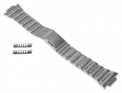 Uhrenarmband Edelstahl Band silberfarben hochglanz/matt 24mm passend zu Timex T2D551 T2D361 T2D371 T2D381 T2D541 T2D561 T2D961