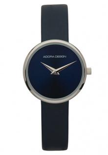 Adora Damen Armbanduhr blaues Lederband Edelstahlgehäuse 3Bar