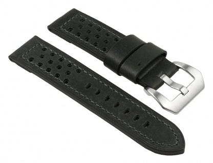Uhrenarmband Leder Band, schwarz, gelocht, atmungsaktiv 25790S
